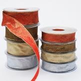 Weihnachtsband Brokat Schmuckband  in 4 Farbvarianten und 2 Breiten