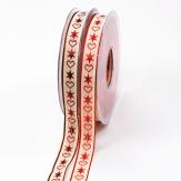 Weihnachtsband Nordisch Schmuckband mit Sternen und Herzen 15mm20m in 2 Farben