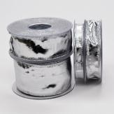 Weihnachtsband Klondike Silberband glänzend in 4 Breiten
