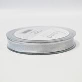Weihnachtsband Lurexkante Satin silber-weiß 15mm20m