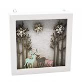 Weihnachtliches LED Bild im Holzrahmen weiß 20x20cm 1Stk