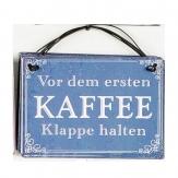 Metallschild Kaffee, zum Hängen blau10x8cm 1Stk