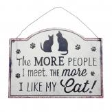 Metallschild Cat, zum Hängen weiß 18x27cm 1Stk