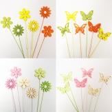 X!Blumenstecker Schmetterling und Blumen 29cm 18Stk