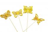 Blumenstecker Schmetterling gelb 8x7cm 12Stk