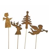 Blumenstecker Weihnachten Tanne, Hirsch, Engel gold 27cm 12Stk