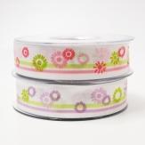 Blüten Dekoband Bellis in rosa oder flieder 25mm20m