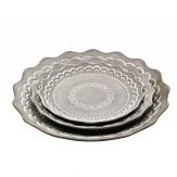 Platte / Dekoteller mit Dekor rund hellgrau in drei Größen