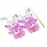 Feder-Schmetterlinge rosa sortiert 7,5 cm 6Stk