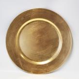 Platte / Dekoteller rund gold mit breitem Rand 33cm