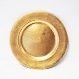 Platte / Dekoteller rund gold mit breitem Rand Ø17cm