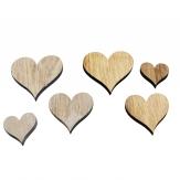 Holzherzen zum Streuen natur/weiß sortiert 48Stk