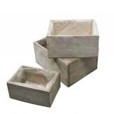 Holzkiste zum Bepflanzen grau 24x18cm 1Set