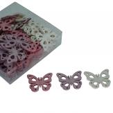 Holzschmetterlinge weiß-violett-rosa 4cm 72Stk