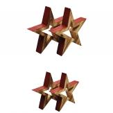 Holzsterne offen zum Stellen rot-natur in zwei Größen 2Stk