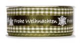 Weihnachtsband - Frohe Weihnachten - Karo grün 40mm15m