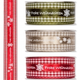 Weihnachtsband - Frohe Weihnachten - Karo braun 10mm18mdiv. Farben 40mm15m