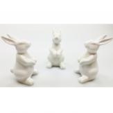Osterhase Keramik weiß 10x6x6cm 3Stk