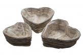 Korbschale Herz grau drei Größen 1Set