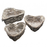 Korbschale Herz weiß drei Größen 1Set