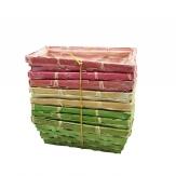 Korbset eckig grün/pink/natur 20x11cm 8Stk