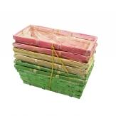 Korbset eckig grün/pink/natur 25x12cm 6Stk