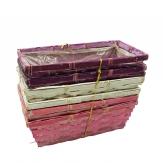 Korbset eckig lila/pink/creme 25x12cm 6Stk