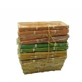 Korbset eckig natur/grün/apricot 20x11cm 8Stk