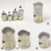 LED-Kerze aus Wachs silber Batteriebetrieb in verschiedenen Größen
