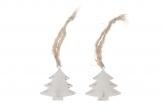 Metall-Tannenbaum zum Hängen weiß 5cm 6Stk