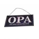 Metallschild Opa ist der Allerbeste, zum Hängen blau 17x10cm 1Stk