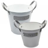 Metalltopf weiß-grau in verschiedenen Größen 1Stk