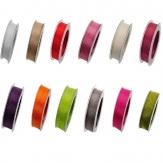 Organza Dekoband mit Drahtkante in vielen Farben 25mm20m