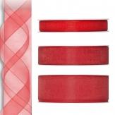 Dekoband Organza rot 50m in drei Größen