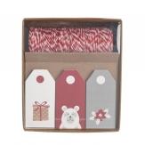 Papieranhänger Weihnachten rot-weiß-grau 30Stk
