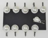 Perlenclip mit Dekorand perlmutt-creme Ø15mm 40Stk