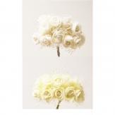 Seidenblumen - Rosensträußchen mit Perle in zwei Farben 20Stk