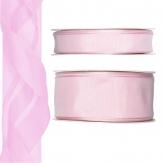 Satinband - Drahtkante rosa 25m in zwei Größen
