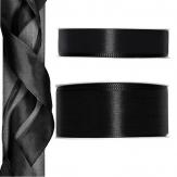 Satinband - Drahtkante schwarz 25m in zwei Größen
