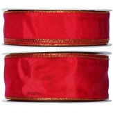 Satinband - Drahtkante rot-gold 25m in zwei Größen