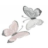 Metall-Schmetterlinge 2-fach sortiert 15x11cm 6Stk
