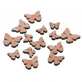 Schmetterlinge aus Holz rosa 3-5cm 14Stk