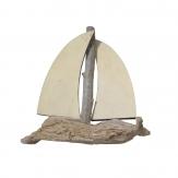 Segelboot aus Holz natur 14cm 6Stk