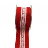 Spitzenband Laradur rot-weiß 50mm5m 1Stk