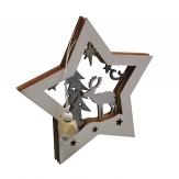 3D Stern mit Weihnachtsmotiv weiß 15x15cm 3Stk