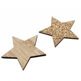 Holzsterne natur/gold 4,5cm 72Stk