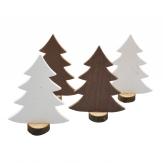 Tannenbaum stehend weiß/braun 20cm 4Stk