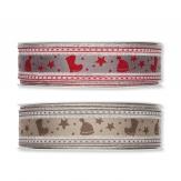 Weihnachtsband in Leinenoptik mit Weihnachtsmotiven in 2 Farben 30mm 15m