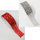 Weihnachtsband Organza mit kleinen Sternen in 2 Farben 40mm20m