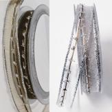 Weihnachtsband Organza mit silbernen Lurexverzierungen in 2 Farben 15mm20m